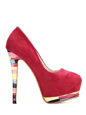 Colorful Heel Platfom Flock Pumps - Red