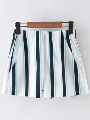 Striped High Waist Shorts - Blue