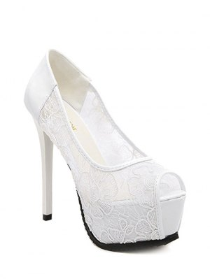 Lace Platform Stiletto Heel Peep Toe Shoes - White