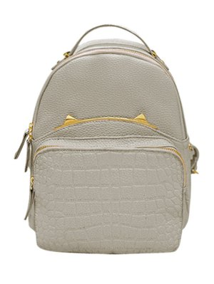 Embossing Metal Solid Color Satchel - Light Gray