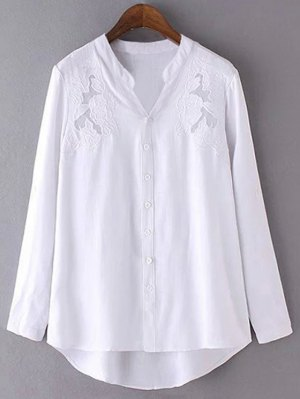 Embroidery Stand Neck Long Sleeve Shirt - White