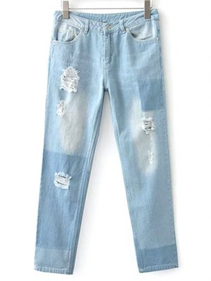 Broken Hole Boyfriend Jeans - Light Blue