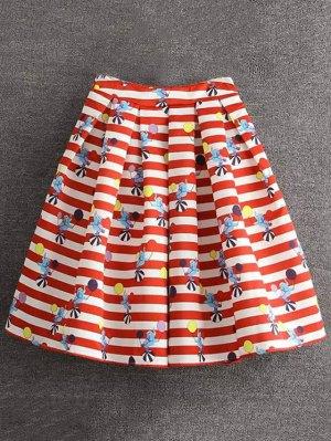 Cartoon Print Striped Ball Gown Skirt - Red