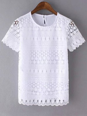 Openwork Round Neck Short Sleeve Lace T-Shirt - White