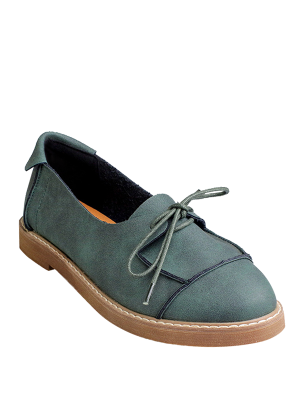 Preppy Lace-Up Flat Shoes - Green