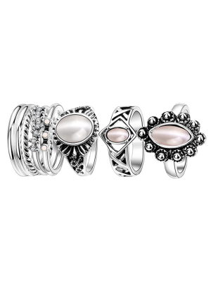 Faux Opal Oval Ring Set - Silver