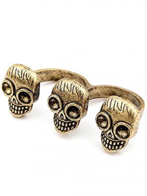 Three Skulls Open Double Rings - Golden