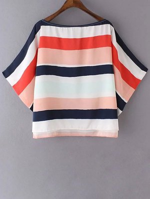 Colored Stripe Boat Neck 3/4 Sleeve T-Shirt - Stripe