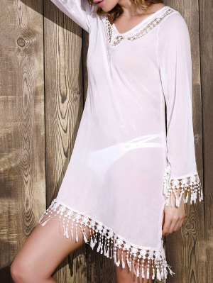 Cut Out V-Neck Long Sleeve See-Through Chiffon Dress - White
