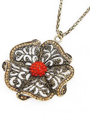 Rhinestone Retro Flower Pendant Sweater Chain - Red