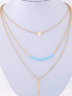 Three Layered Pendant Necklace - Golden