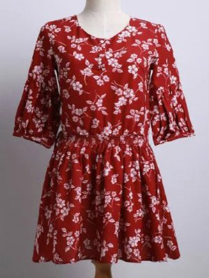 Tiny Flower Print Round Neck Puff Sleeve Dress - Red