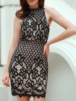 Mock Neck Guipure Lace Sheath Dress - Black