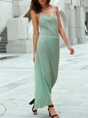 Solid Color Spaghetti Strap Backless Maxi Dress - Lake Green