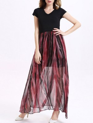 Printed V-Neck Short Sleeve Spliced Maxi Dress - Red With Black