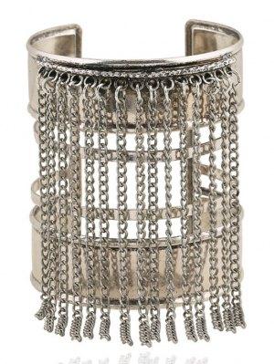 Link Chain Tassel Chunky Cuff Bracelet - Silver