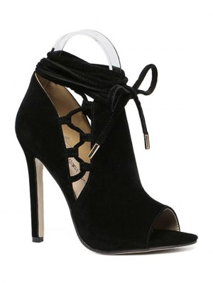 Hollow Out Flock Black Peep Toe Shoes - Black