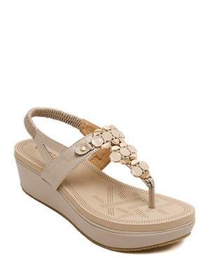 Metallic Elastic Platform Sandals - Apricot