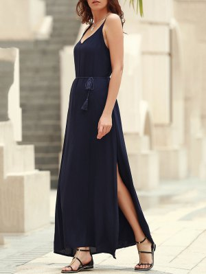 Low Back High Slit Long Flowing Dress - Blue