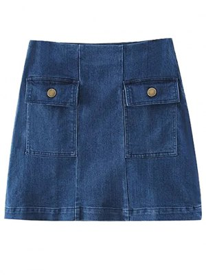 Two Pockets Denim Mini Skirt - Blue