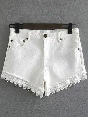 Lace Trim Denim Shorts - Blanc