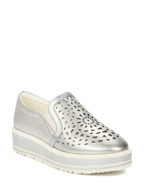 Hollow Out Slip-On Platform Shoes - Silver