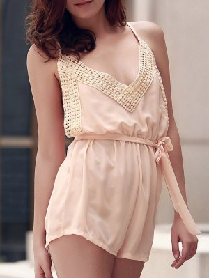 Lace Spliced Cami Backless Playsuit - Nude