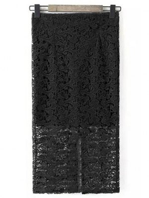Guipure Lace Tube Skirt - Black