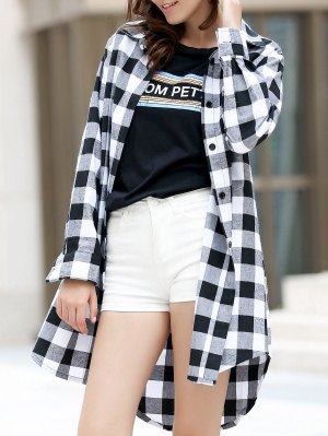 Checked High-Low Shirt Collar Long Sleeve Dress - Black