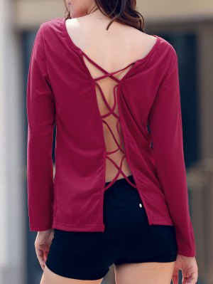Back Criss-Cross Round Collar Long Sleeve T-Shirt - Wine Red