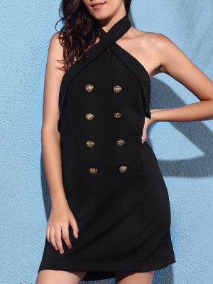 Backless Solid Color Cross Halter Sleeveless Dress - Black