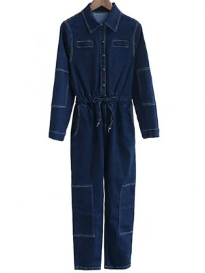 Deep Blue Denim Turn Down Collar Long Sleeve Jumpsuit - Deep Blue