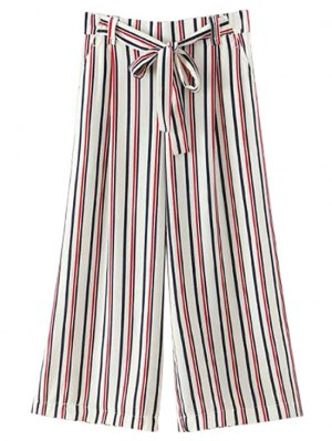 Self-Tie Striped Wide Leg Pants - White
