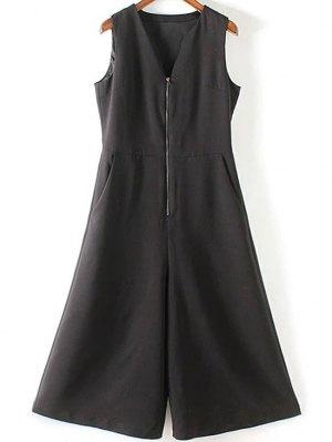 Black V Neck Sleeveless Wide Leg Jumpsuit - Black