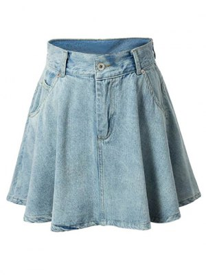 A-Line Pocket Design Mini Skirt - Light Blue