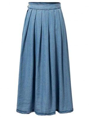 Pleated Blue Full Skirt - Blue