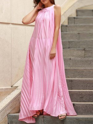 Pleated Flared Long Dress - Pink