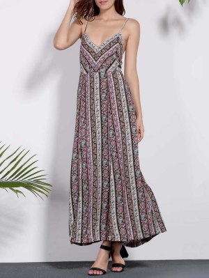 Backless Spaghetti Straps Printed Dress