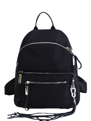 Splicing Tassels Zippers Backpack - Black