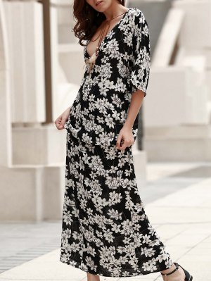 Plunging Neck Printed Boho Dress - Black