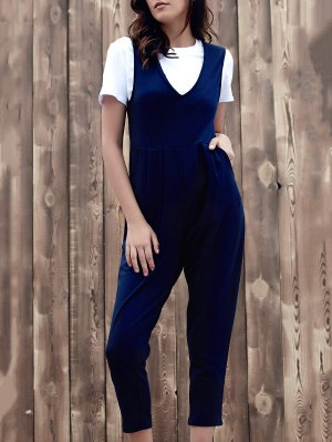 Fitting Solid Color Plunging Neck Sleeveless Jumpsuit - Purplish Blue