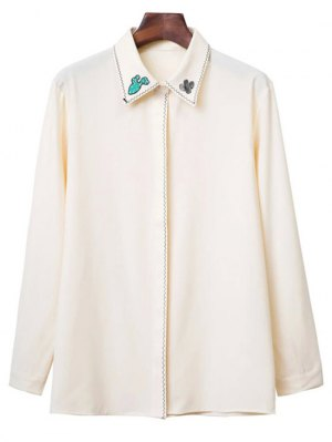 Embroidered Turn Down Collar Long Sleeve Shirt - Beige