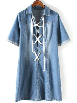 Denim Lace Up Turn Down Collar Short Sleeve Dress - Blue
