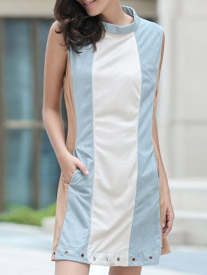 Cut Out Hit Color Round Neck Sleeveless Dress - Blue Gray