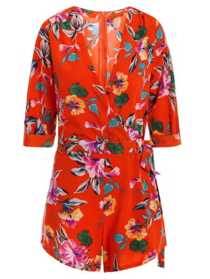 Bowknot Floral Print V Neck 3/4 Sleeve Romper - Red