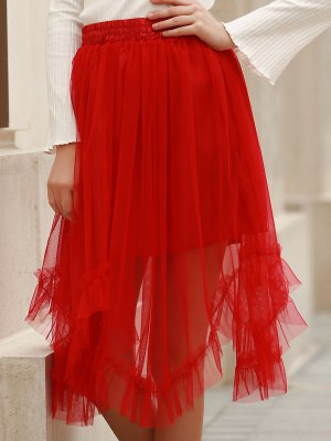 Solid Color Folded Pleated High Waist A-Line Skirt - Red