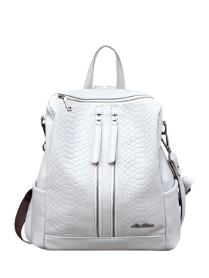 Snake Embossed Multi Zips Backpack - Light Gray