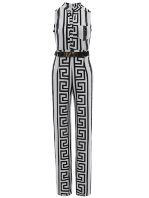 Printed Stand Neck Sleeveless Jumpsuit - White