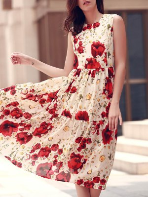 Folded Floral Print Round Neck Sleeveless Dress - Red