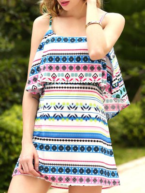 Ethnic Print Cami Ruffles Dress